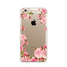 Pink Floral Flower TPU Rubber Silicone Clear Case Cover Back Apple iPhone Series