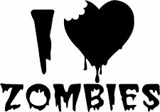I Love Zombies - Vinyl Car Window and Laptop Decal Sticker