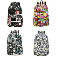 Women Girl Canvas Shoulder School Bag Bookbag Backpack Rucksack Flower Printed W