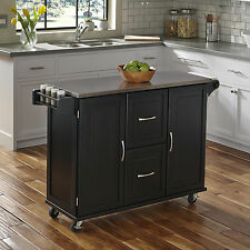 Kitchen Island Cart Storage Wooden Top Counter Cabinet w/Casters Shelves Drawers