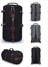 Mens Vintage Canvas Leather Hiking Travel Messenger Tote Bag Backpack Rucksacks