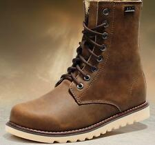 Mens Military combat work High ankle Boot shoes pu leather Riding black brown