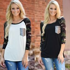New Autunm Woman Sequin Splice Tops Blouse Pullover Crewneck Long Sleeve T-Shirt