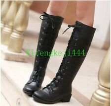 Winter Fashion Womens Lace Up Riding Boots Knee High Boots Punk Motorcycle New