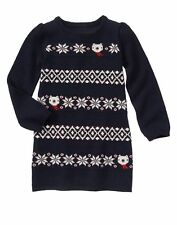 GYMBOREE Girl Holiday Shop Navy Fair Isle Bear Knit Sweater Dress Size 4 6 7 NWT