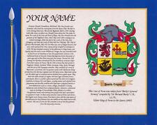 "SCOTTISH HERITAGE COAT OF ARMS & SURNAME HISTORY PRINT 10"" x 8"" & A4 FREE GIFT"