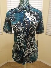 BCBG Max Azria Button Down Short Sleeve Shirt Blouse Top Career Casual Blue Teal