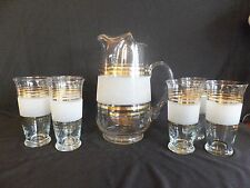 Mid Century Modern Glass Pitcher Gold Trim Frosted Glass With 6 Beverage Glasses