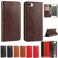 Genuine Real Leather Flip Wallet Stand Skin Case Cover For Apple iPhone 7/7 Plus