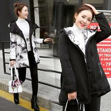 Women Reversible printing Jacket Down Cotton Coat Ladies Hooded Parka Outerwear