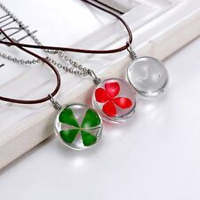 Natural Real Dried Flower Four-leaf Clover Glass Pendant Necklace Jewellery New