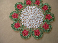 Thread Hand Crocheted White Doily Tablecloth Lace Mat Centerpiece 8 in. Topper
