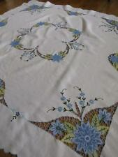 Beautiful Vintage Irish Linen Table Cloth- Blue Cutwork Flowers
