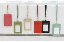Badge Id Holder Pass Lanyard Card Wallet Genuine Leather Oyster bus Neck Strap