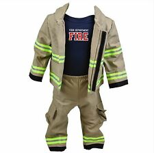Personalized Baby Firefighter Costume Full Outfit-Bodysuit, Pants and Jacket