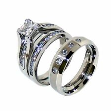 His Hers 3 PCS Princess CZ Stainless Steel Wedding 2 Rings Set /Mens 5 CZs Band