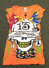 ED Hardy Women's V-NECK See No Evil PUNK skull Orange T-Shirt