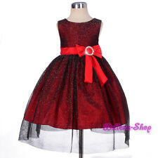 Diamante Shimmery Red Dress Wedding Pageant Occasion Infant Size 6m-3T FG279