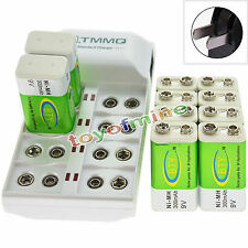 10x 9V 6F22 PPS 300mAh Ni-Mh Rechargeable Battery + 8 Slot Batteries Charger