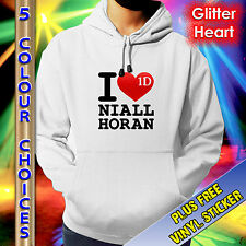ONE DIRECTION HOODIE - I LOVE NIALL - RED GLITTER HEART - KIDS TEENS ADULTS