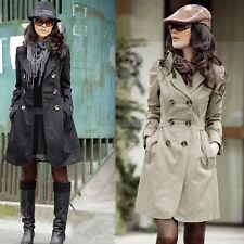 Women's Slim Fit Trench Charm Double-breasted Coat Fashion Jacket Outwear OK