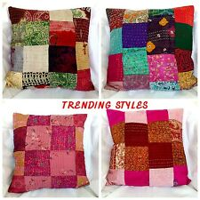 Patchwork Pillow Cases Indian Throw Embroidered Decor Cushion Cover Ethnic Art
