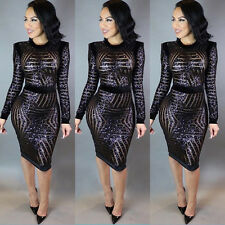 Women New Sexy Sequin Dress Bodycon Cocktail Evening Night Clubwear Pencil Dress