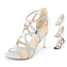 SHOEZY womens strappy sandals stilettos dress summer high heels diamantes shoes
