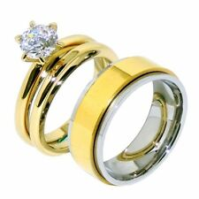 His Hers 3 PCS Round CZ Gold IP Stainless Steel Ring Set /Mens Spinning Band