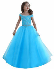 Flower Girl Dress Wedding Birthday Prom BallGown Pageant Party Bridesmaid blue