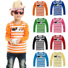 Toddler Kids Boys Girls Mickey Mouse Striped Long Sleeve Cotton T-Shirt Tops Tee