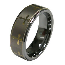 New Sale Mens 8mm Tungsten Carbide Gold Tone Cross Ring Size 9-12 US Seller
