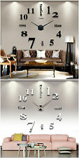 Modern DIY Analog Wall Clock 3D Large Number Sticker Decor for Home Office Decor