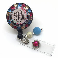 FLOWER & POLKA MONOGRAM BLING RETRACTABLE ID BADGE HOLDER LANYARD