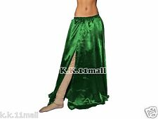 Women Skirts One Side Slit Cut Satin Skirt Belly Dancing Skirt Tribal Costume