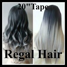 """20""""DIP DYE/OMBRE #1/GREY-SILVER 5A STICK TIP/ITIP  1G HUMAN HAIR EXTENSIONS 18"""""""