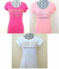 GUESS LOS ANGELES LOGO STUDS SCOOP NECK PINK,WHITE TOP,SHORT SLEEVE,TEE,T-SHIRT