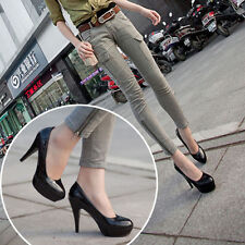 Classic Women Shoes leather Round Toe Stiletto High Heel Platform Pump Shoes NEW