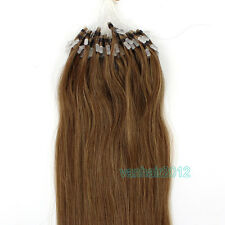 100s Silicone Micro Ring Beads Loop Remy Human Hair Extensions Light Brown 16-24