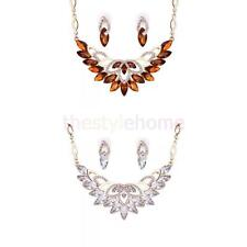 Lady Women Prom Rhinestone Crystal Gold Plated Earring Necklace Jewelry Set Hot