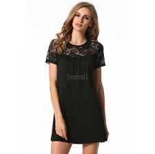 Sexy Short Sleeve Lace Patchwork Backless Club Mini A-line Dress LM