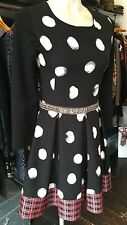 SAVE THE QUEEN NS AW16 BLACK WHITE SEQUINNED ALICE DRESS M,L