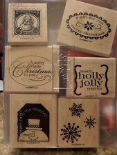 """Stampin Up! """"Christmas Punch"""" Wood Mounted Rubber Stamp Set, Snowflakes, Tags"""