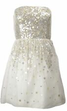 Adrianna Papell Evening Short Sequin Party / Prom Dress Ivory