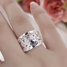 HOT! Women New Fashion Natural Crystal 925 Solid Sterling Silver Ring Size FY