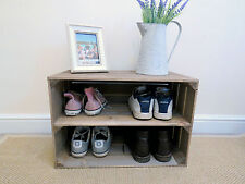 SHABBY CHIC WOODEN SHOE RACK EXTRA DEPTH, NEW HANDMADE VINTAGE STYLE APPLE CRATE