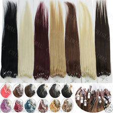 "TOP Human Hair Extensions Loop Beads 50s 16""18""20""22""24""26"" Micro Ring 100% Remy"