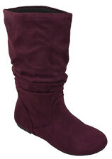 Soda Women Flat Slouchy Basic Boots Mid Calf  Faux Slip on Burgundy Suede ZURICH