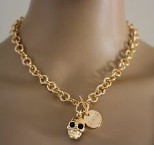ALEXANDER MCQUEEN SIGNED GOLD SKULL BONE CRYSTAL CHAIN NECKLACE AUTH