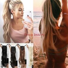 US 100% Real New Clip In Natural Hair Extensions Pony Tail Wrap Around Ponytail
